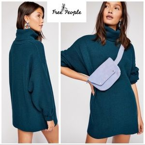 NEW Free People Turquoise High Neck Sweater